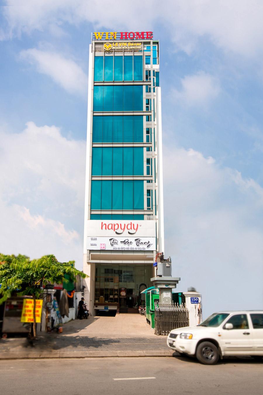 Tổng thể tòa nhà văn phòng cho thuê Win Home 150 Trần Não.